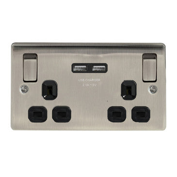 BG Nexus NBI22U3B Brushed Iridium 2 Gang 13A Switched Socket with Black Insert and 2 x USB Ports - BG - Sparks Warehouse