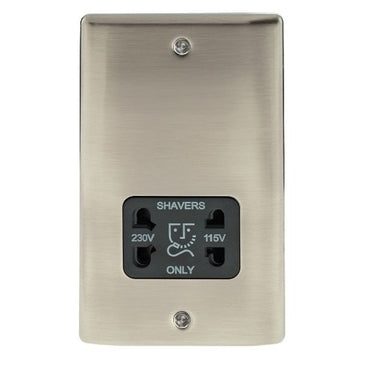 BG Nexus NBI20B Metal Brushed Iridium Shaver Socket Outlet - Black Insert - BG - Sparks Warehouse