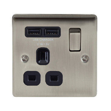 BG Nexus NBI21U2B Nexus Metal Brushed Iridium 1G13A Switched Socket with Black Insert and 2 x USB Ports 2.1A - BG - Sparks Warehouse