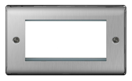BG Nexus NBSEMR4 Brushed Steel 4 Module  Front Plate (100 X 50mm) - BG - sparks-warehouse