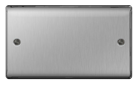 BG Nexus NBS95 Brushed Steel 2 Gang Blank Plate