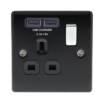 BG Nexus NMB21U2B Matt Black 13A 1G Socket with Black Insert and 2 x 2.1A USB - BG - Sparks Warehouse