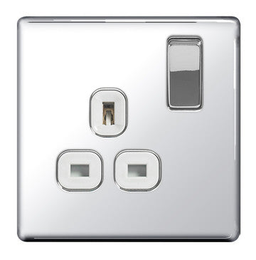 BG FPC21W Screwless Flat Plate Polished Chrome 13A 1G DP Switched Socket White Inserts - BG - Sparks Warehouse