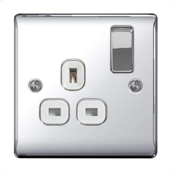 BG Nexus NPC21W Polished Chrome 13A 1G Double Pole Switched Socket White Inserts - BG - sparks-warehouse
