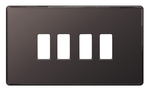 BG Nexus GFBN4 Grid Black Nickel Screwless 4 Gang Front Plate - BG - sparks-warehouse