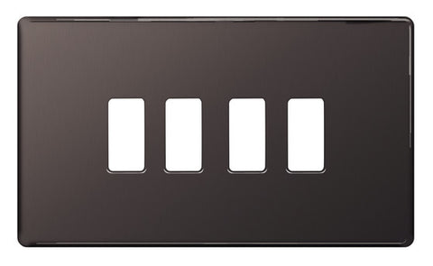 BG Nexus GFBN4 Grid Black Nickel Screwless 4 Gang Front Plate