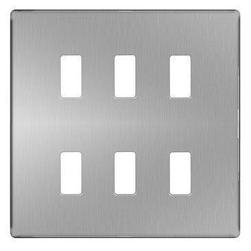 BG Nexus GFPC6 Grid Chrome Screwless 6 Gang Front Plate