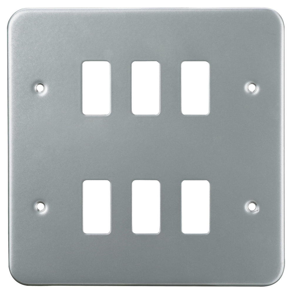 BG Nexus GMC6 Grid METAL CLAD 6 Gang Front Plate - BG - sparks-warehouse