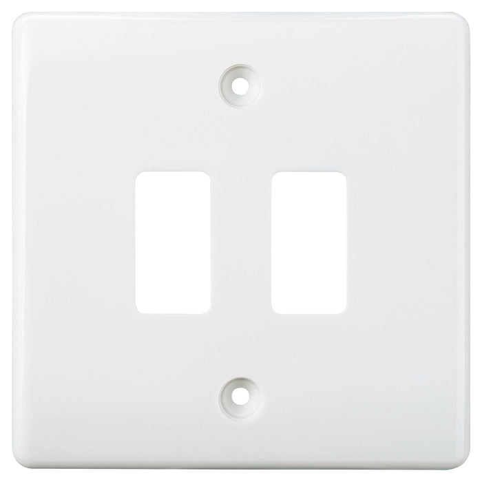 BG Nexus G82 Moulded White 2 Gang Grid Front Plate - BG - sparks-warehouse