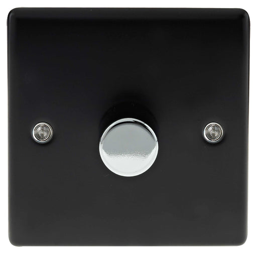 BG Nexus NMB81P Metal Matt Black & Chrome 1 Gang 2W 400W Dimmer Light Switch - BG - Sparks Warehouse