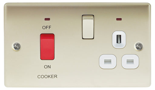 BG Nexus NPR70W Metal Pearl Nickel 45A Cooker Socket Switch Unit with Neon - BG - Sparks Warehouse