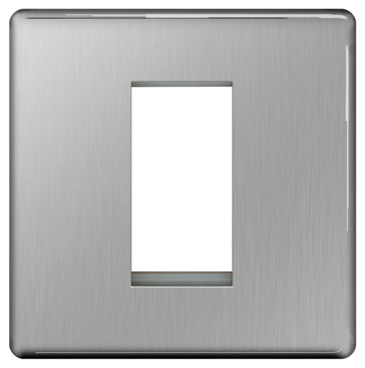 BG FBSEMS1 Screwless Flat Plate Brushed Steel 1 Module  Front Plate (25 x 50mm) - BG - sparks-warehouse