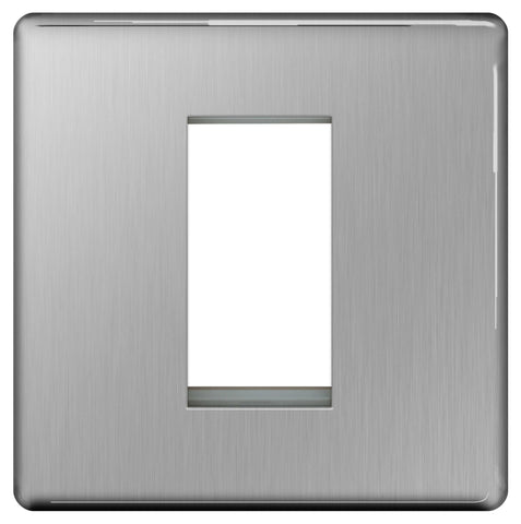 BG FBSEMS1 SCREWLESS Flat Plate Brushed Steel 1 Module  Front Plate (25 X 50)