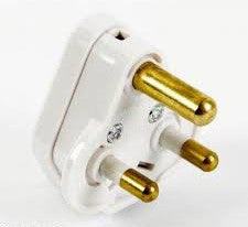 BG PT5W 5A White Round Pin Plug with Sleeved Pins - BG - Sparks Warehouse