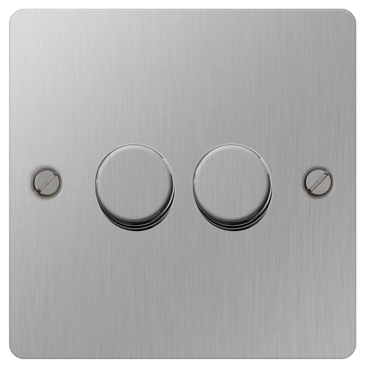 BG SBS82P Flat Plate Brushed Steel 400W 2 Way - Push 2 Gang Dimmer - BG - sparks-warehouse