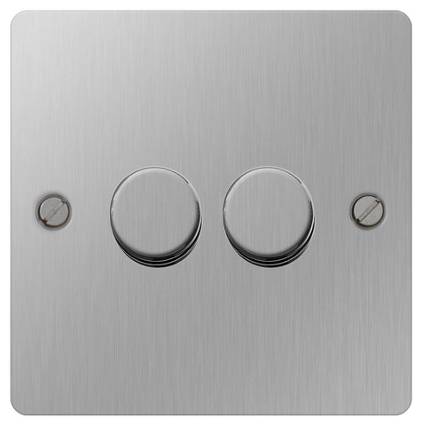 BG SBS82P Flat Plate Brushed Steel 400W 2 Way - Push 2 Gang Dimmer