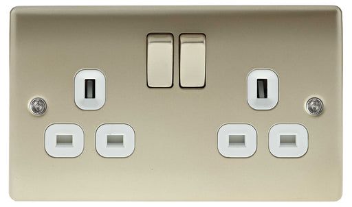 BG Nexus NPR22W Metal Pearl Nickel Double Plug Socket Switched (2 Gang)