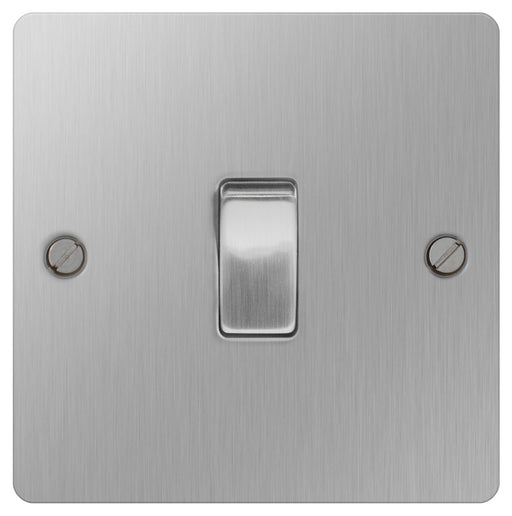 BG SBS12 Brushed Steel 10A Plate Switch 1 Gang 2 Way - BG - sparks-warehouse