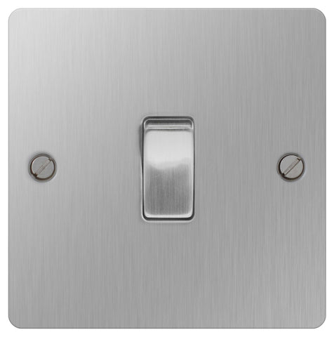 BG SBS12 Brushed Steel 10A Plate Switch 1 Gang 2 Way