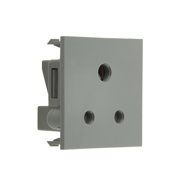 BG EM5ASG 5A Round Pin Unswitched Socket Module Grey - (50 x 50mm) - BG - sparks-warehouse