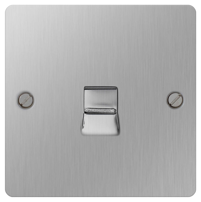 BG SBSBTM1 Flat Plate Brushed Steel Telephone Socket Master, 1 Gang Screw Terminals - BG - sparks-warehouse