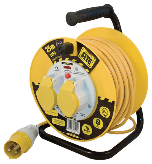 BG LVCT2516/2 110V 16A 25M 2 Gang CABLE REEL With THERMAL CUT OUT - BG - Sparks Warehouse