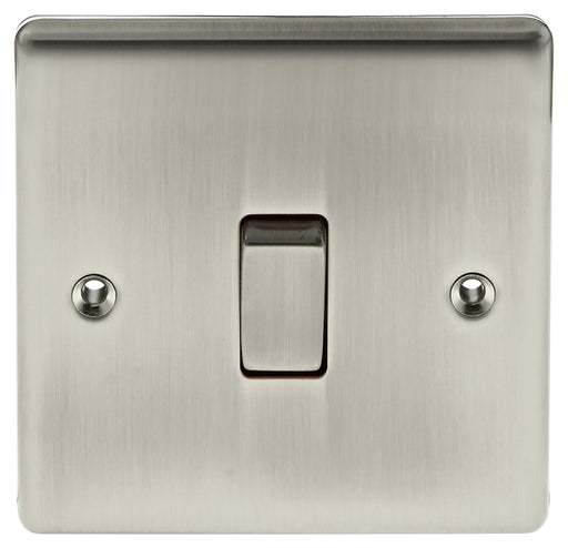 BG Nexus NBI12 Metal Brushed Iridium Light Switch Plate - Single 1 Gang 2 Way - BG - Sparks Warehouse