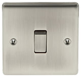 BG Nexus NBI12 Metal Brushed Iridium Light Switch Plate - Single 1 Gang 2 Way