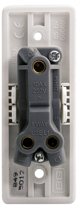 BG Nexus 849 10AX 1 Gang 2 Way Retractive ARCHITRAVE Switch Labelled *PRESS*