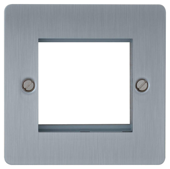 BG SBSEMS2 Screwed Flat Plate Brushed Steel Twin Euro Module  Double Front Plate - BG - sparks-warehouse