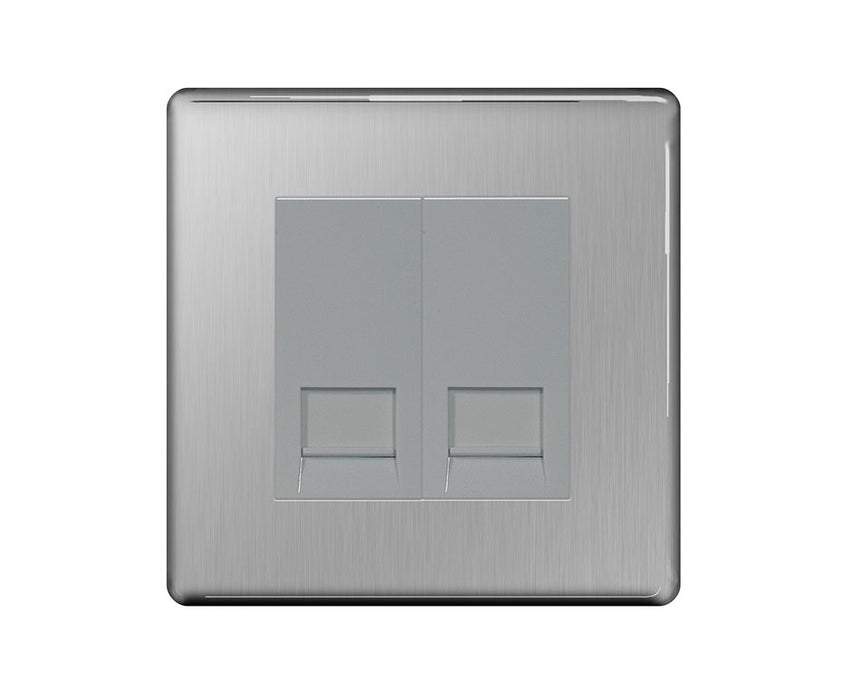 BG FBSBTS2 Screwless Flat Plate Brushed Steel Telephone Socket, Slave 2G Screw Connection - BG - sparks-warehouse