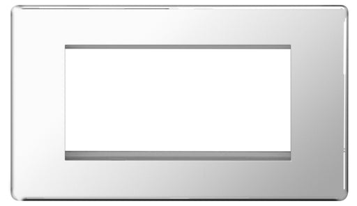 BG FPCEMR4 Screwless Flat Plate Polished Chrome Front Plate 4 Module  (100 X 50mm)