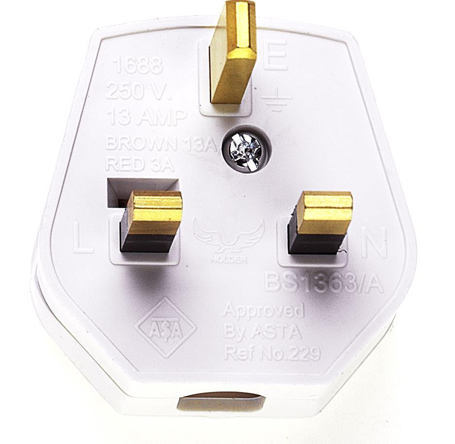 05082 - 13A Plug White Fused 13A Easy cordgrip, quick to wire and nice quality finish. - Lampfix - sparks-warehouse