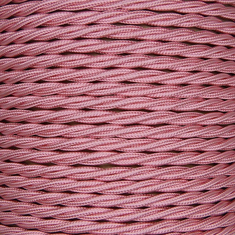 01785 - T-T Braided Flex 3 core 0.5mm Baby Pink Cable Sold by the metre