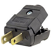 05856 - Plug USA 2 Pin Polarised UL Rated, Screw Terminal, Black - LampFix - Sparks Warehouse