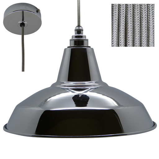 CHRIS Industrial Shade Pendant Set 1mtr. Chrome Shade, Chrome Rose, Round Silver Metal Flex - Lampfix - Sparks Warehouse
