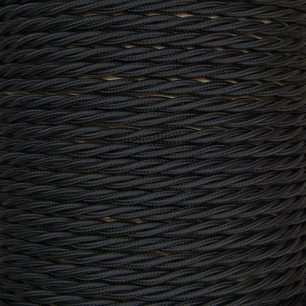 01780 - T-T Braided Flex 3 core 0.75mm Black Sold by the metre - Lampfix - sparks-warehouse