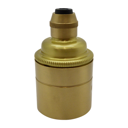 06581 Lampholder ES Brushed Brass Smooth Skirt with Cordgrip