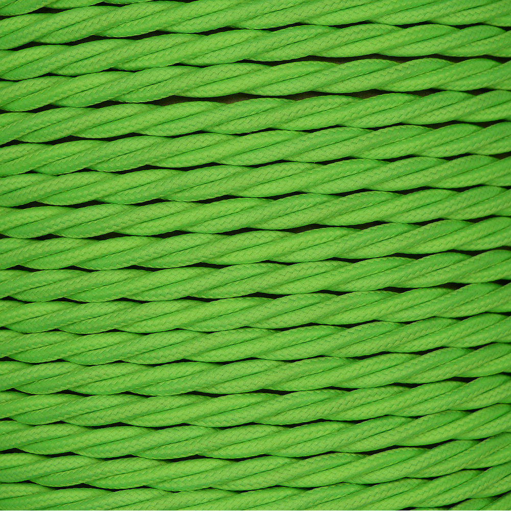 01784 - T-T Braided Flex 3 core 0.5mm Lime Green Cable Sold by the metre - Lampfix - sparks-warehouse