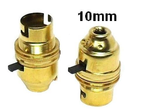 05010 Ecofix BC Lampholder 10mm Switched Brass External Earth