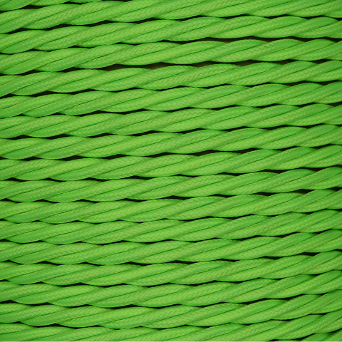 01784 - T-T Braided Flex 3 core 0.5mm Lime Green Cable Sold by the metre