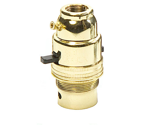 "05144 Ecofix BC Lampholder ½"" Switched Brass External Earth - LampFix - sparks-warehouse"