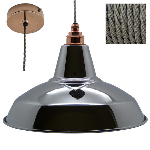 CHARLIE Industrial Shade Pendant Set 1mtr. Chrome Shade, Copper Rose, Twisted Grey Flex - Lampfix - Sparks Warehouse