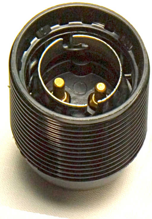 05167 Lampholder 10mm BC Threaded Skirt Black - Continental Style - BC / Bayonet Cap / B22, Black Plastic, 10mm Thread Entry - Lampfix - Sparks Warehouse