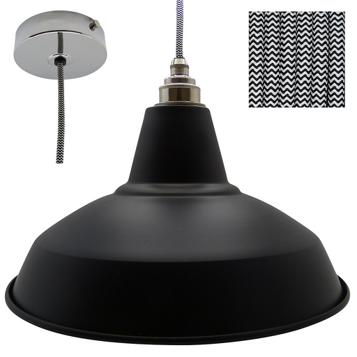 DAN Industrial Shade Pendant Set 1mtr. Black Shade, Nickel Rose, Round Black/White Zigzag Flex - Lampfix - Sparks Warehouse