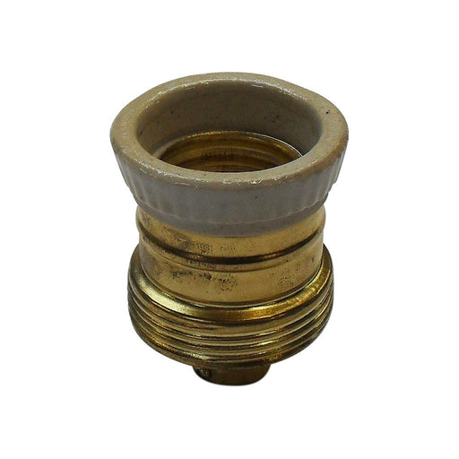 Lampfix 05496 Continental Lampholder 10mm ES Brassed With Porcelain Ring (Unearthed) - LampFix - Sparks Warehouse