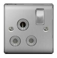 BG Nexus NBS99G Brushed Steel 15A 1 Gang Switched Socket