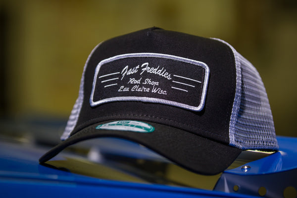 Black and white patch trucker hat