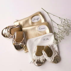 Bridesmaid Shoes - Foldable flats with personalized shoe bags, White and Champagne