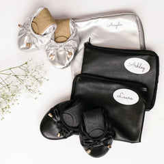 Bridesmaid Shoes - Foldable flats with personalized shoe bags, Silver and Black